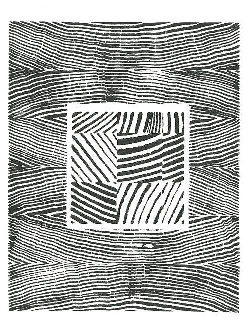"Vertical Grain Block Print - 8 3/4"" x 10 1/2"" inches"