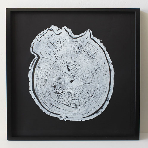 Burl Wood Print 18 x 18  inches White Ink (Unframed)