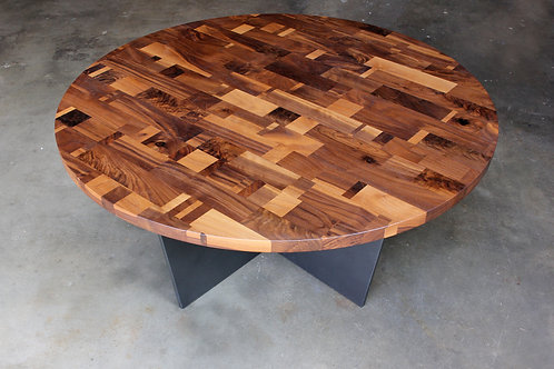 Walnut Cubism Table Round
