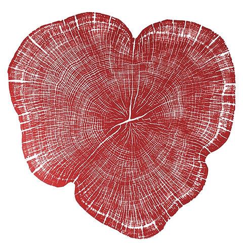 "Coeur de Chêne (rouge) - 19 1/4"" x 19 1/4"" inches"