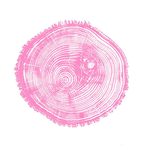 "Bass Wood Print Two Eyes  Light Pink Ink- 13"" x 13"" inches"
