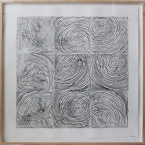 Cedar Graphite Grid 46 x 46 x 2 inches (Framed)