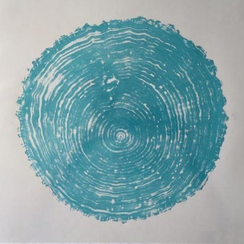 """Bass Wood Print - turquoise ink on gray paper - 14 1/2"""" x 13 1/2"""" inches"""