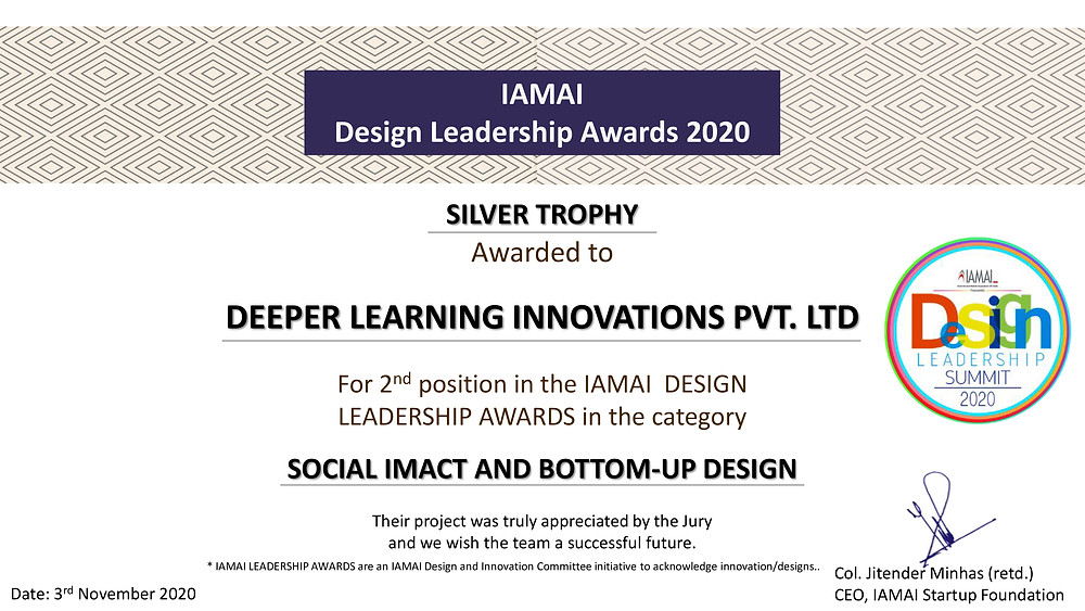 Social Impact Design Award at Design Leadership Summit by IAMAI