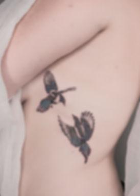 bird tattoo magpie microrealism anita la sainte