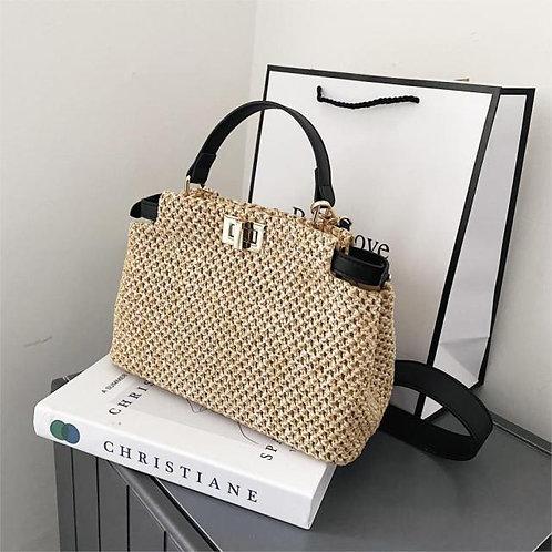 Weave Square Mini Tote Satchel Handbag