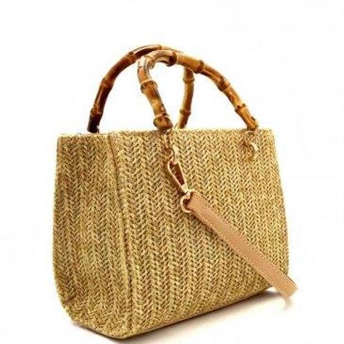 Woven Straw Bamboo Handle Boxy Shoulder Bag