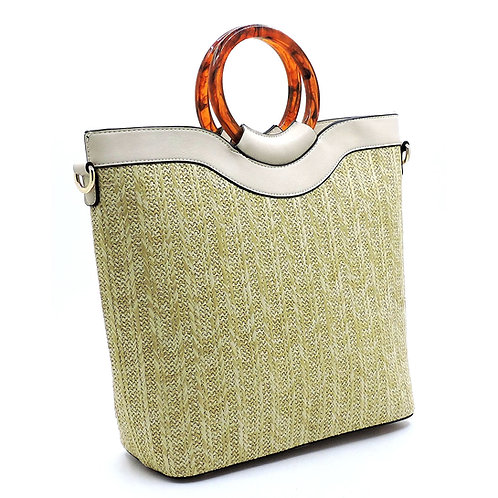 Altrie Amber Top Handle Straw Satchel