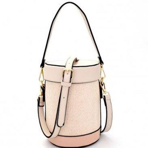 Isabelle Woven Straw Vegan Leather Barrel Handbag