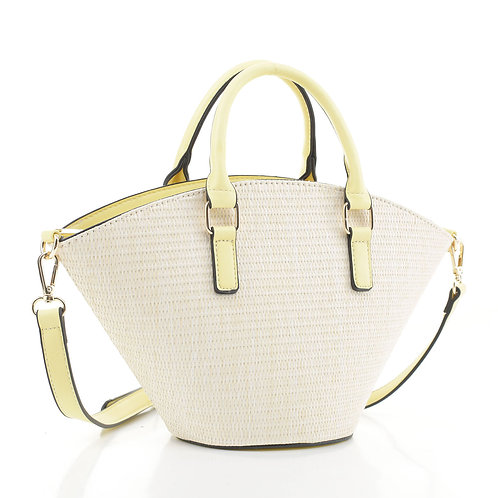 Altrie Fashion Straw 2-toned Top Handle Satchel