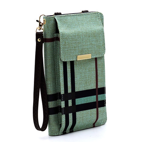 Plaid Check Linen Bifold Wallet Cell Phone Case