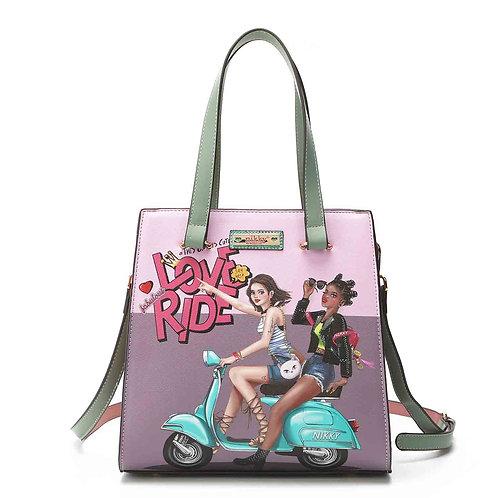 Love Ride Tote Handbag with Cosmetic Bag