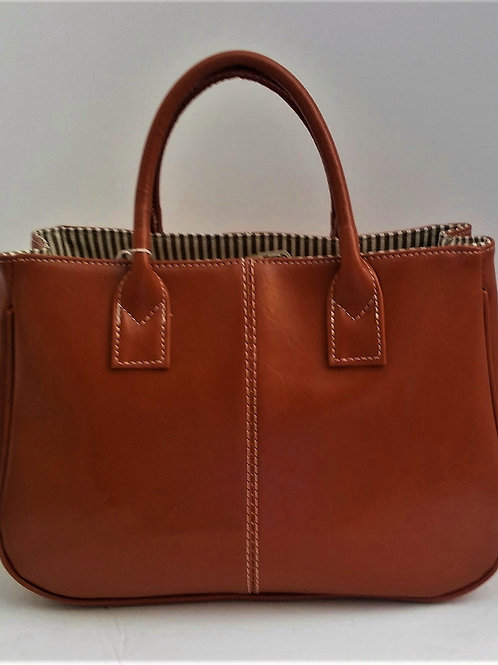 Concise Candy Color and PU Leather Design Tote Bag