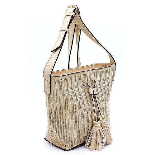Laser Cut Crossbody Bucket Handbag