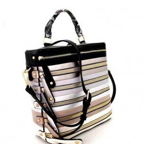 Lemiel Zipper Accent Color Block Stripe Embossed Boxy Satchel