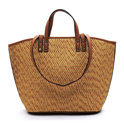 Amber Round Top Handle Straw Satchel