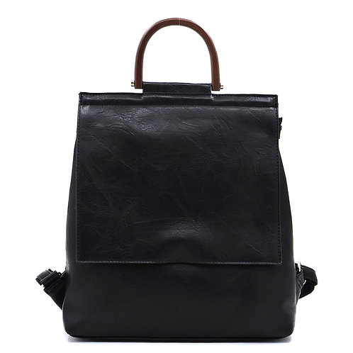 Fashion Wooden Top Handle Convertible Backpack