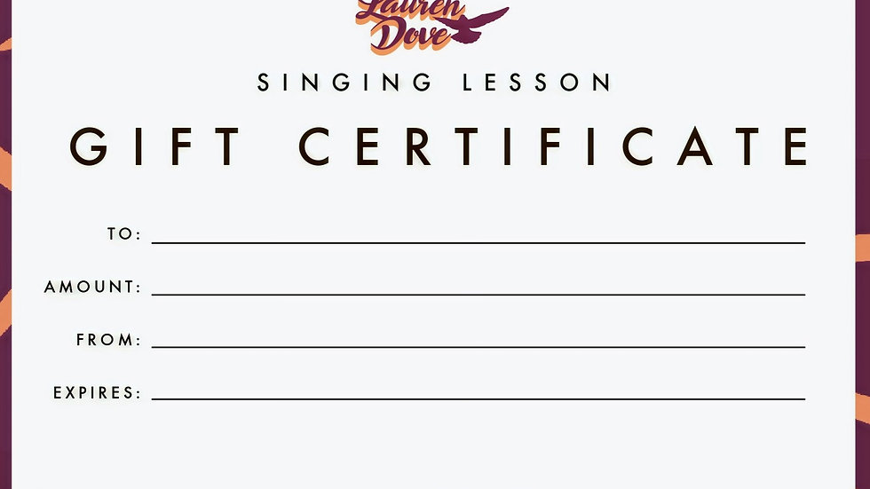 Singing Lesson Gift Certificate