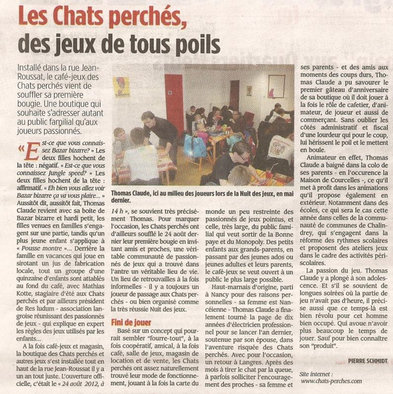 2013_09_30 Article Voix de la Haute-Marne 1 an
