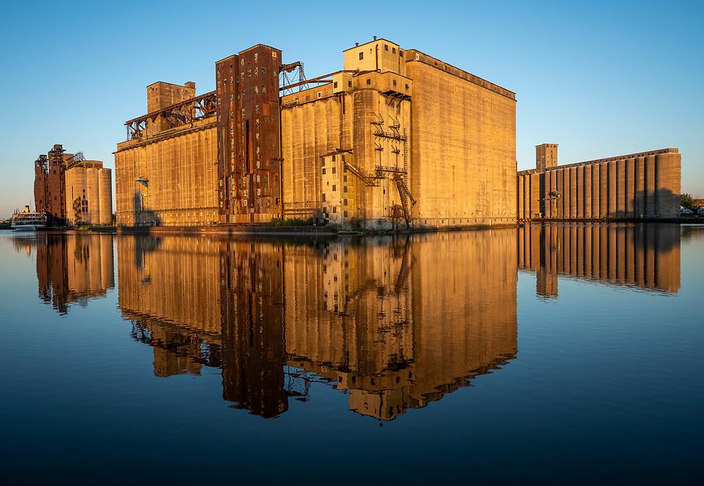 Silo City in Buffalo, NY with a reflection from Humburg Street