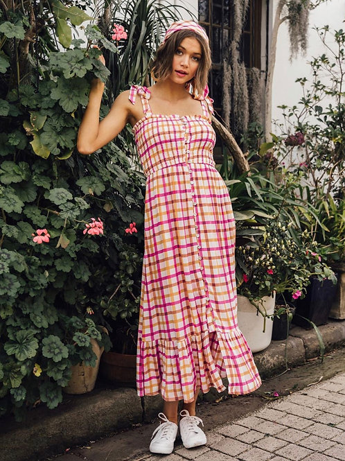 Pink and mustard gingham maxi