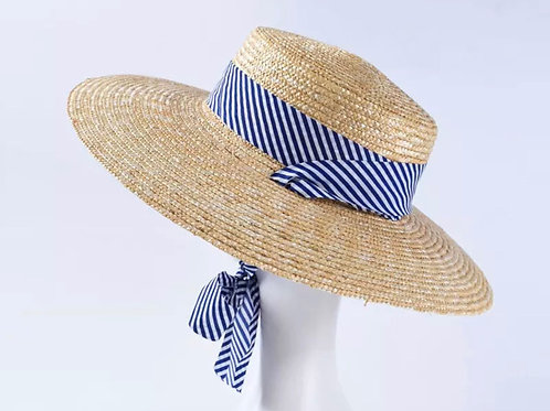 Straw hat with blue and white tie