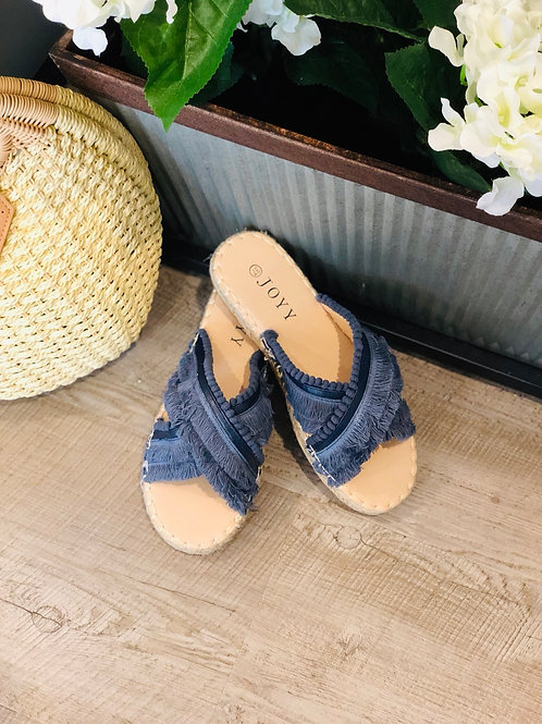 Navy Tassle Slide on Shoes