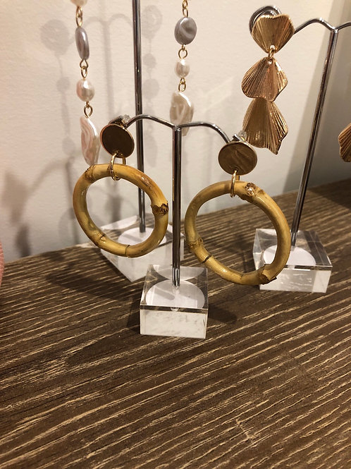Bamboo and gold circle earrings