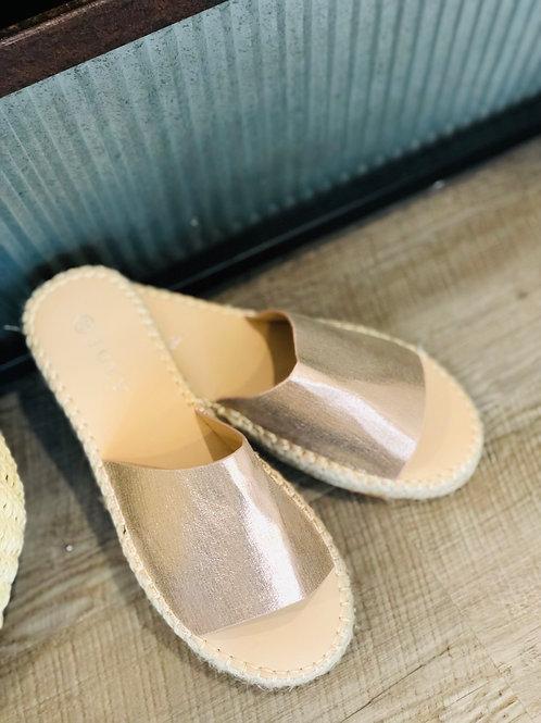 Shiny Rose Gold slide on Shoes