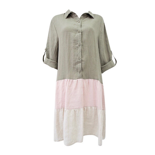 Olive and Pink Button Dress