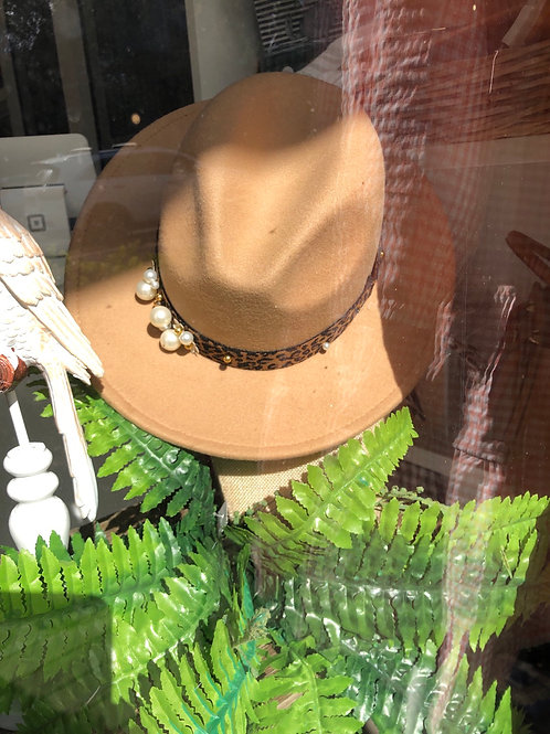 Caramel Leopard and Pearl hat