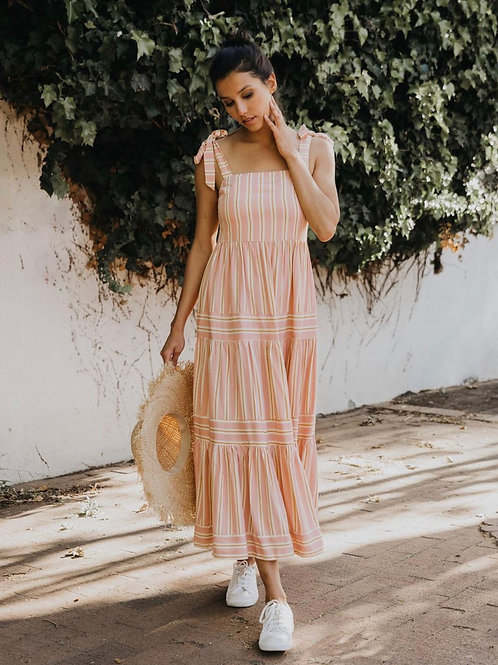 Pink and mustard striped maxi