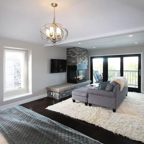 Finished Basement | Living room | Fireplace | Home remodel