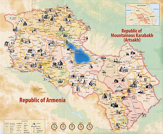The map of Republic of Armenia