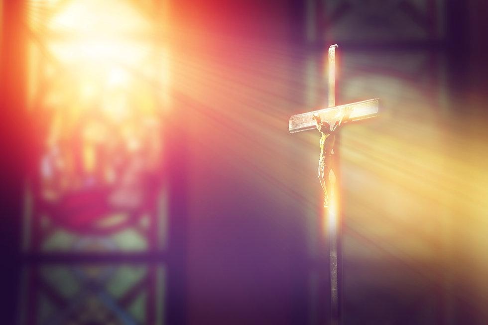 crucifix, jesus on the cross in church w