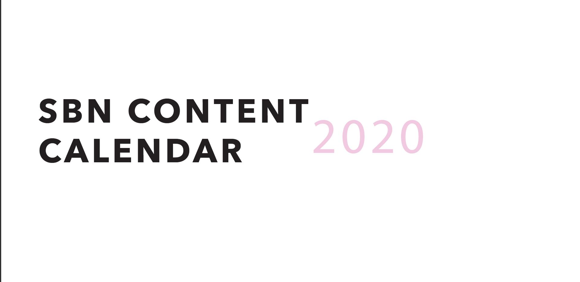 SBN Content Calendar 2020