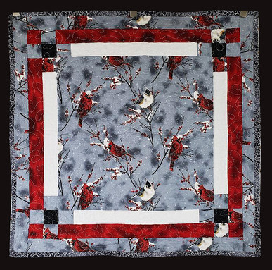 Something Christmas Cardinal Table Topper Quilt by Susan Brannon Auvil