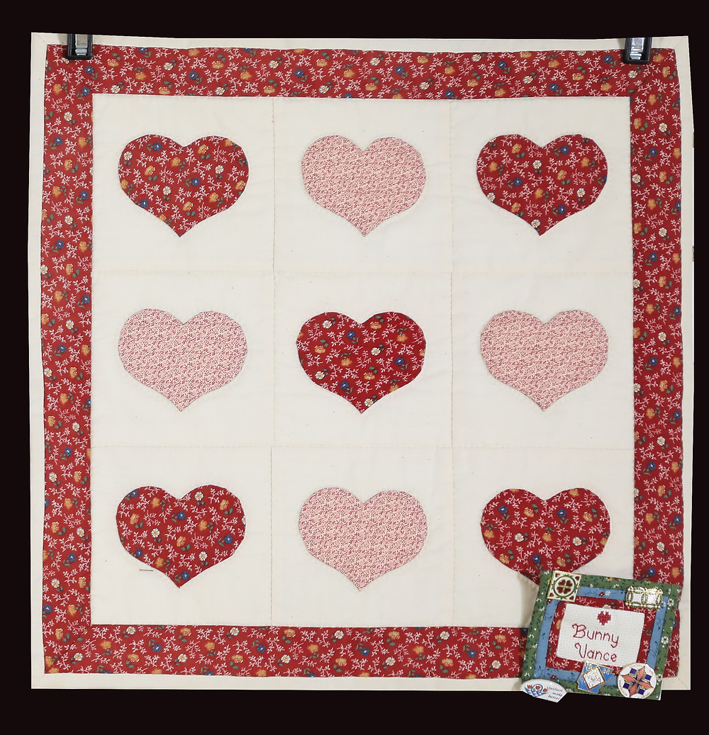 Appliqued Red Country Hearts Wall Hanging by Bunny Rittenour