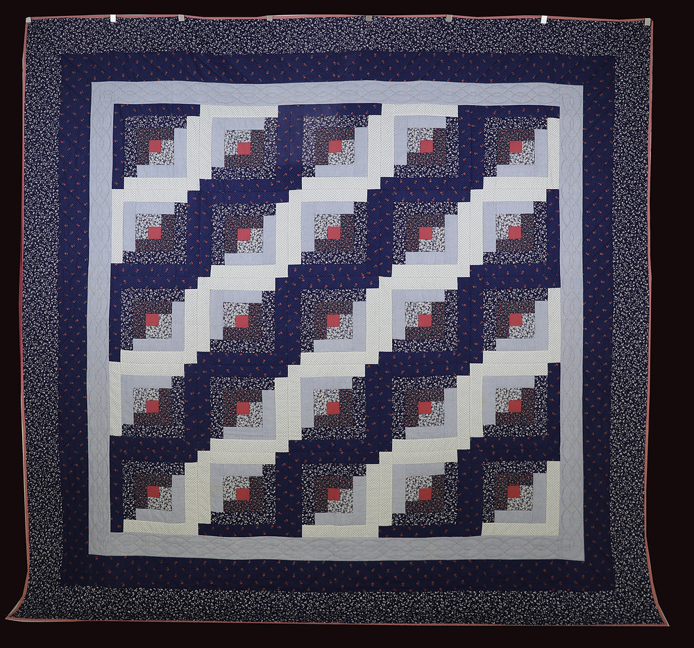 Blue Log Cabin Quilt by Bunny Rittenour
