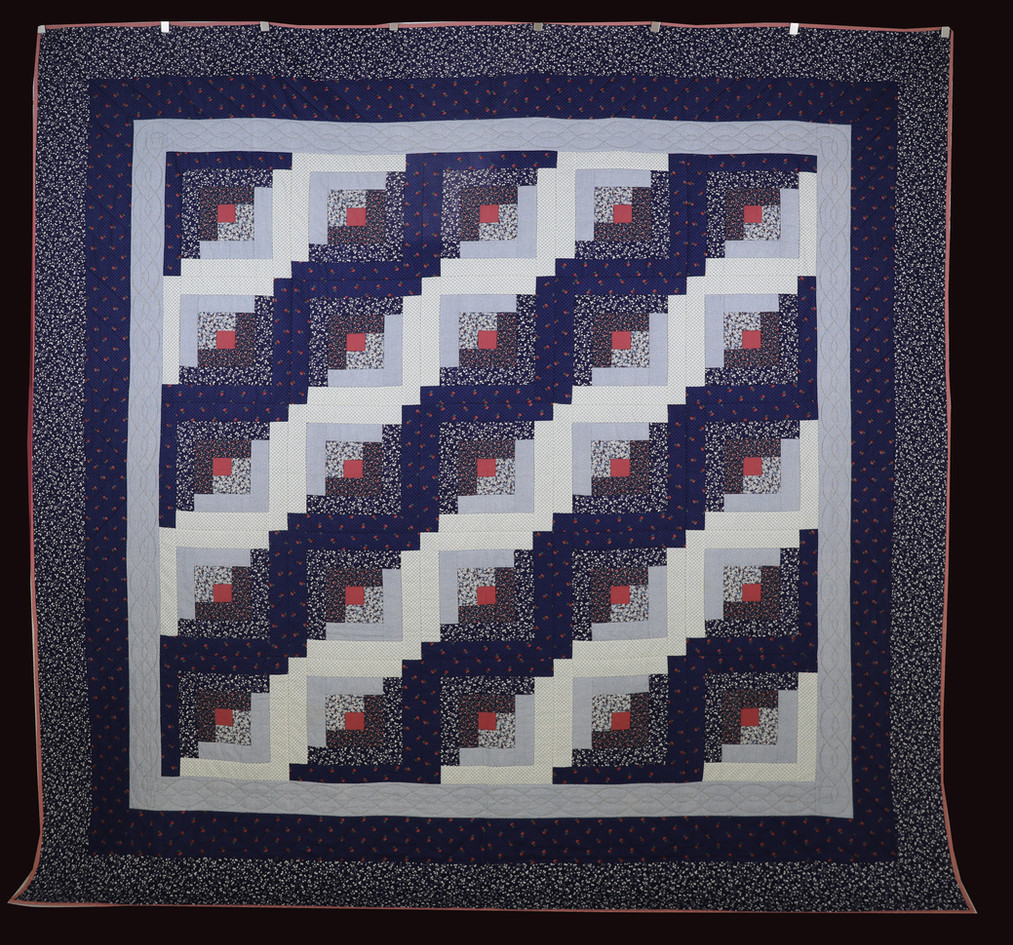 Blue Log Cabin Quilt by Bunny Rittenour Smith