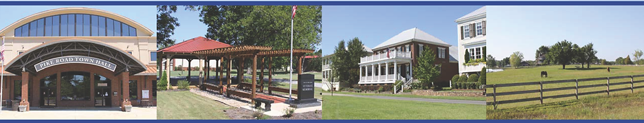 Collage - Pike Road Town Hall, Pike Road Veterans Memorial, Home with Porch, and Field with Horses