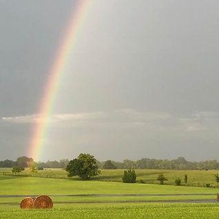 Hay Field with Rainbow and Gray Sky