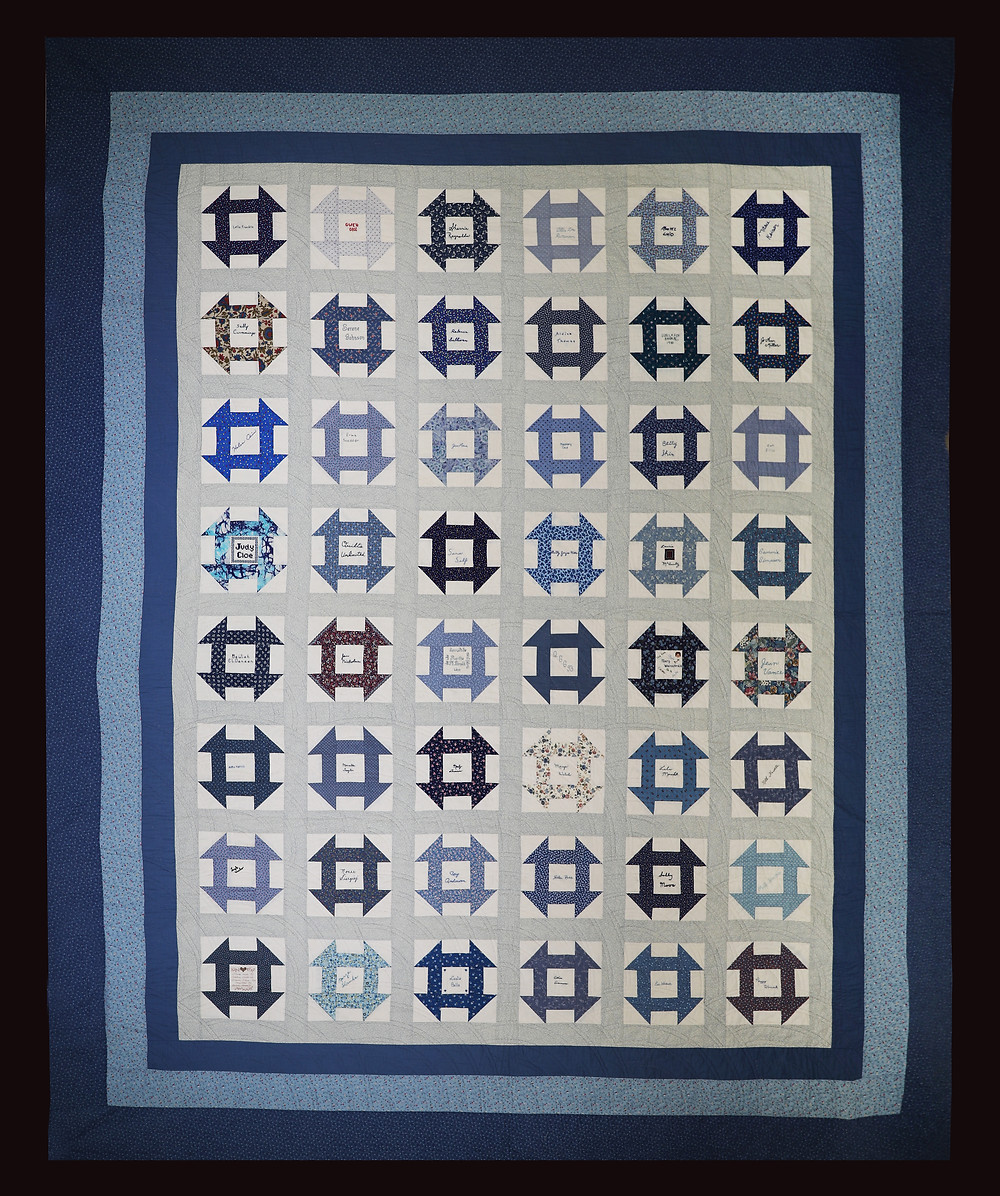 Blue Churn Dash Quilt by Bunny Rittenour