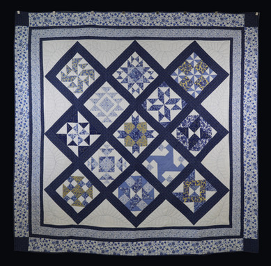 Cozy Blue and Yellow Block of the Month Quilt by Charlene Howell Rabren