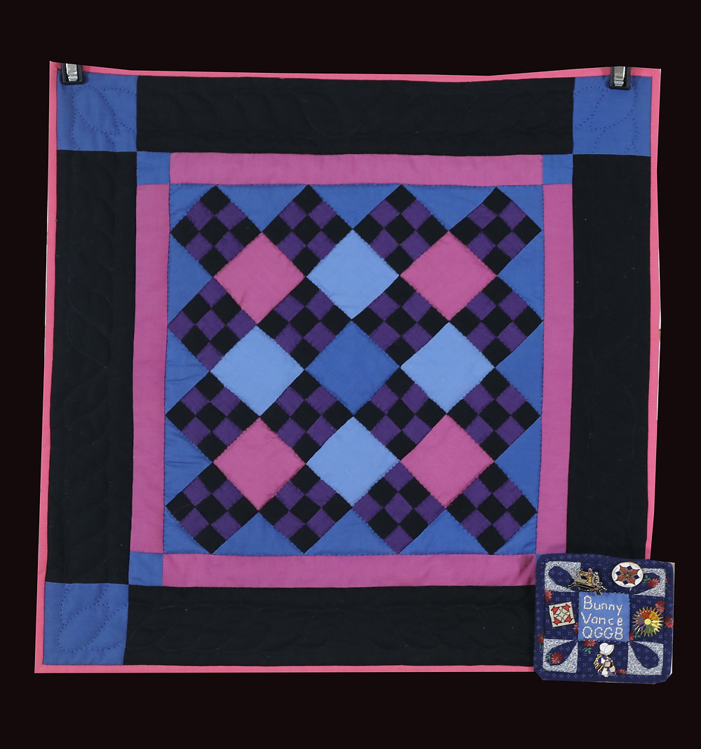 Amish 9-Patch Quilt Set on Point in Black, Blues, Magenta, & Pink by Bunny Rittenour