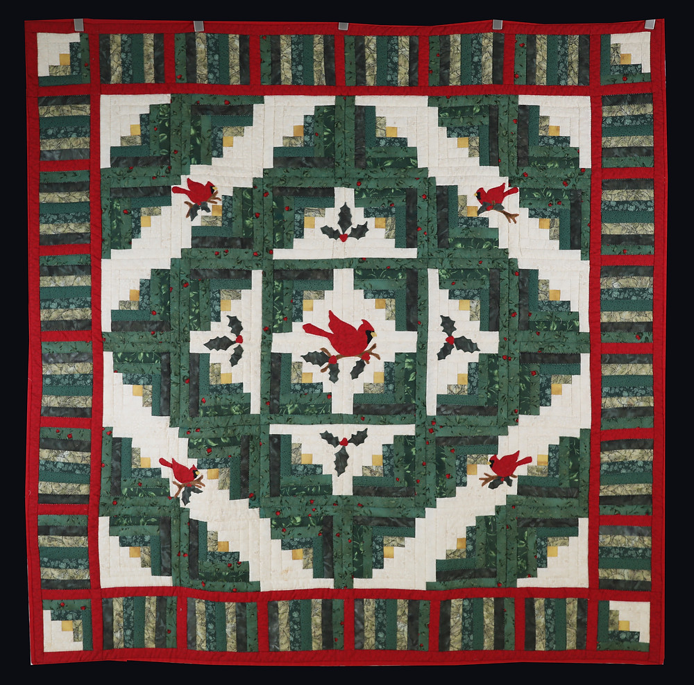 Cardinal Christmas Log Cabin Quilt by Evielean Howell