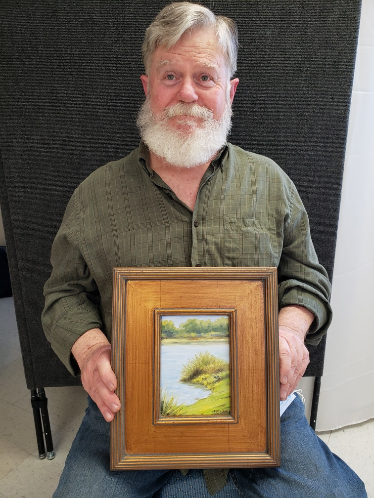 Pictured, Steven Davis shows off his painting, Private Property, created during the 2020 Pike Road Plein Air Paint Out!
