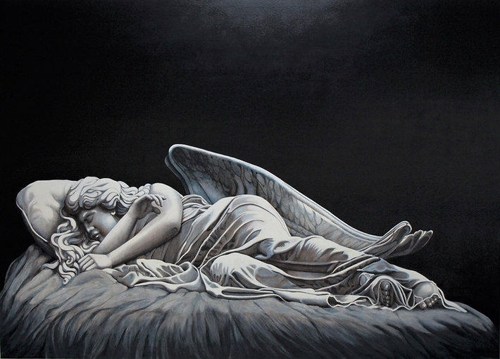 the work is an interpretation of the a stone angel that can be found in Highgate Cemetry London. it is a commsioned work one of two for the same client. It is made with many layers of oil glazes on canvas. The light eminates from within the painting and the figure is set in dark and endless space.