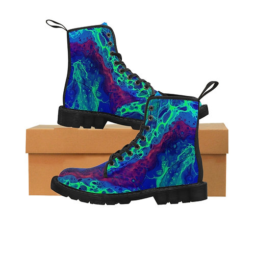 """Neon Glow"" Men's Canvas Boots"