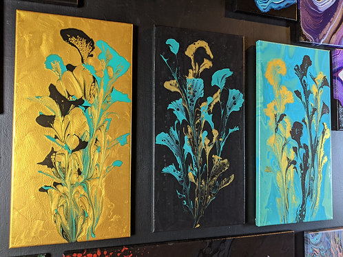 "Flower Triptych, Original paintings, 10""/20"" each"